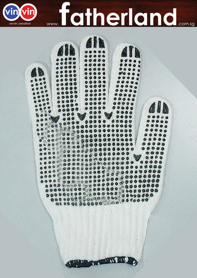 COTTON GLOVE 1 PAIR WITH BLACK RUBBER DOTS