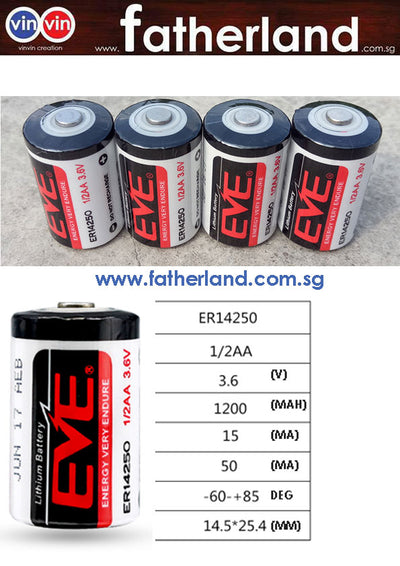 3.6V HIGH ENERGY LITHIUM BATTERY ER14250 EVE