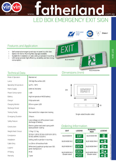 White LED Slim Box Emergency Exit Sign