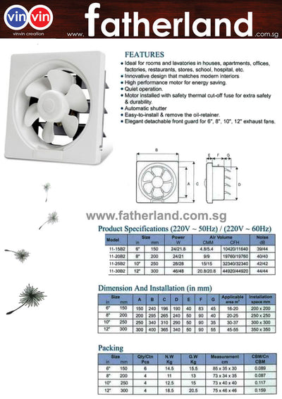 PVC Ventilating Fan Wall Mount Exhaust Fan