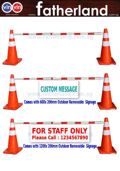VINVIN Highly Visible Orange Traffic Cone with Reflective  1 Set . comes with 1pc Barricade Pole. Unbreakable 700mm height Traffic Cone. Crowd Control. Traffic Control. Cordon off Area. Isolation Area.