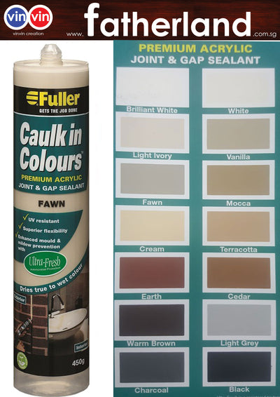 FULLER CAULK IN COLOURS ACRYLIC SEALANT 450G ( LIGHT GREY )