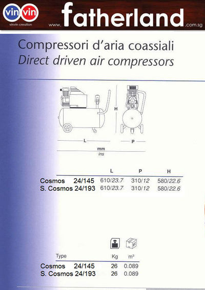 FIAC Cosmos AB 24/145 (2HP) with MOM Certificate
