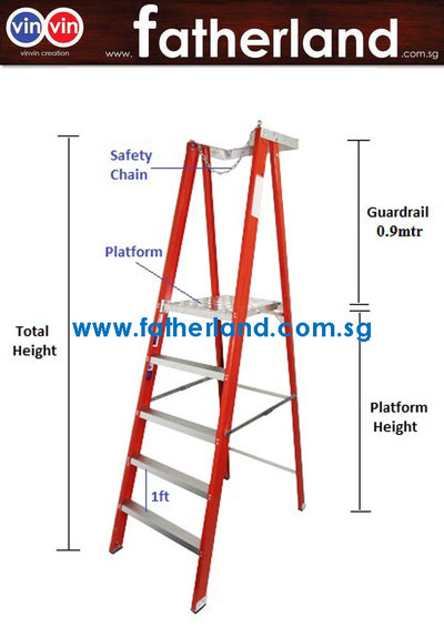 FIBREGLASS ALUMINIUM PLATFORM LADDER WITH CHAIN AND LONG RAIL