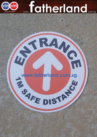 1 meter safe distancing label sticker Round Entrance