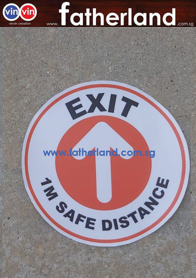 1 meter safe distancing label sticker Round EXIT
