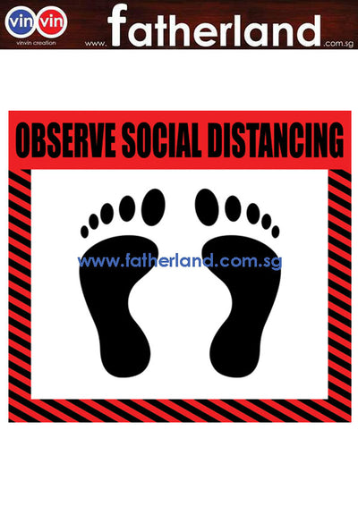 SOCIAL DISTANCING FLOOR MARKER ( RED DESIGN )