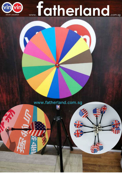 WHEEL OF FORTUNE 800MM PORTABLE WITH MAGNETIC DART BOARD ( 2 IN 1 )