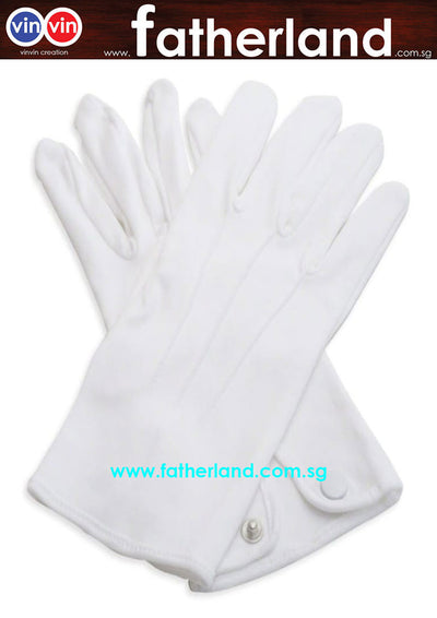 COTTON WHITE BUTTON GLOVES (DOZEN)