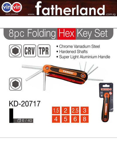 KENDO 8PCS FOLDING HEX KEY SET