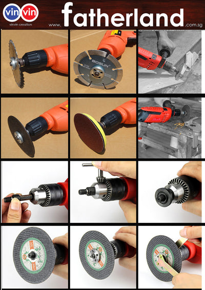 VINVIN MULTI 10MM CUTTING AND GRINDING  HOLDER FOR HAND DRILL