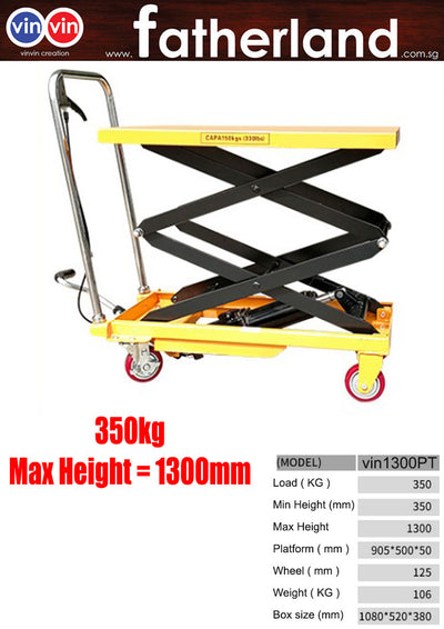 Hydraulic Lifting Trolley Table 350kg ( Max 1300 mm Height )