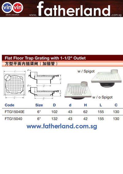 "Flat Floor Trap Grating with 1-1/2"" Outlet"