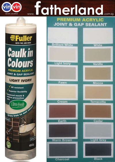FULLER CAULK IN COLOURS ACRYLIC SEALANT 450G ( LIGHT IVORY )