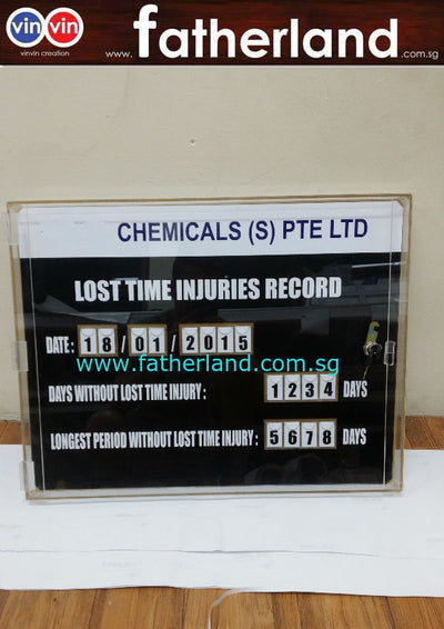 Lost Time Injuries Record Acrylic Notice Board