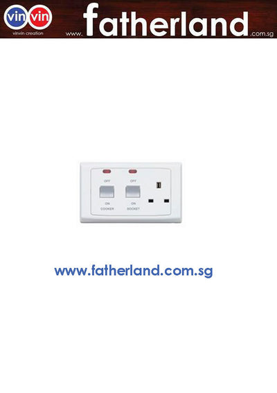 MK S5061 WHI 45A DP COOKER SWITCHSOCKET WITH NEON