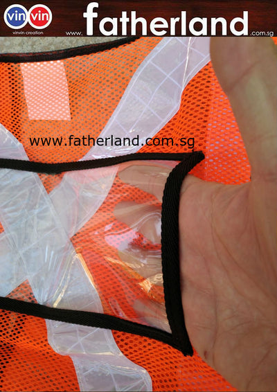 Safety Orange Vest with back clear PVC Pocket