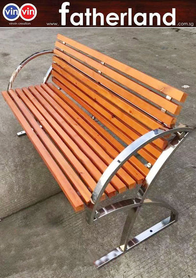 OUTDOOR PARK BENCH MODEL VIN-06PW-SS  Synthetic imitation Fibre Plastic wood
