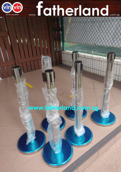 Queue Pole stand Chrome with Blue Belt (  CV19-CA series )