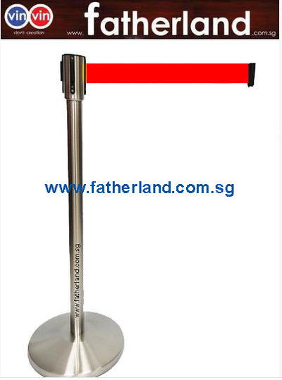 STAINLESS STEEL QUEUE POLE WITH RED BELT ( TG )