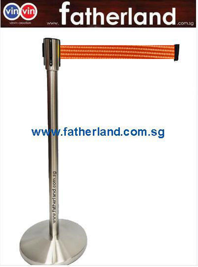 STAINLESS STEEL QUEUE POLE WITH ORANGE BELT ( HG )