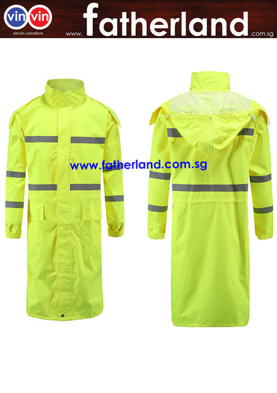 HEAVY DUTY PVC RAINCOAT YELLOW WITH REFLECTIVE STRIP