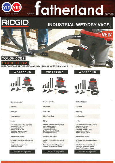 RIDGID 920W 22.5L TANK IND WET/DRY VACUUM CLEANER, WD0655ND