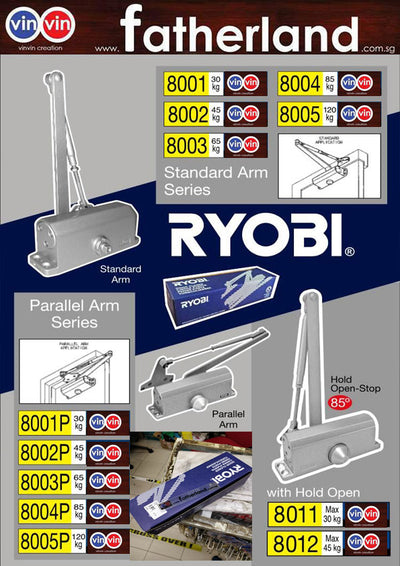 RYOBI DOOR CLOSER SILVER 8001 (STANDARD ARM)
