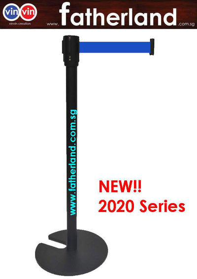 Stackable Queue Pole Black Pole with Blue Belt ( vinvin 2020 series )