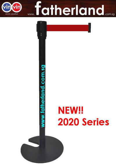 Stackable Queue Pole Black Pole with Red Belt ( vinvin 2020 series )