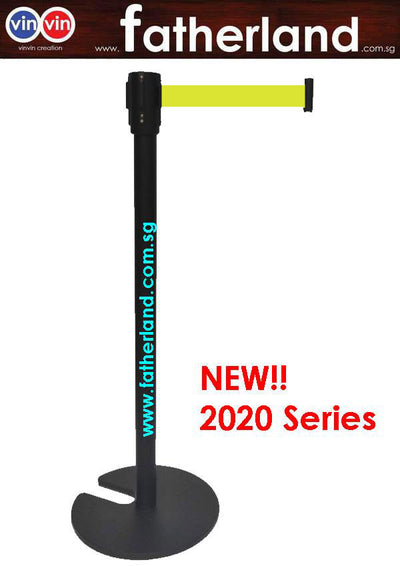 Stackable Queue Pole Black Pole with Yellow Belt ( vinvin 2020 series )