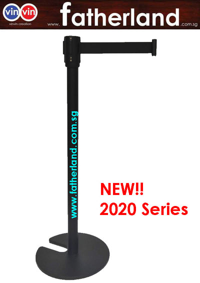 Stackable Queue Pole Black Pole with Black Belt ( vinvin 2020 series )