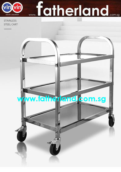 Stainless steel 3-tier food trolley