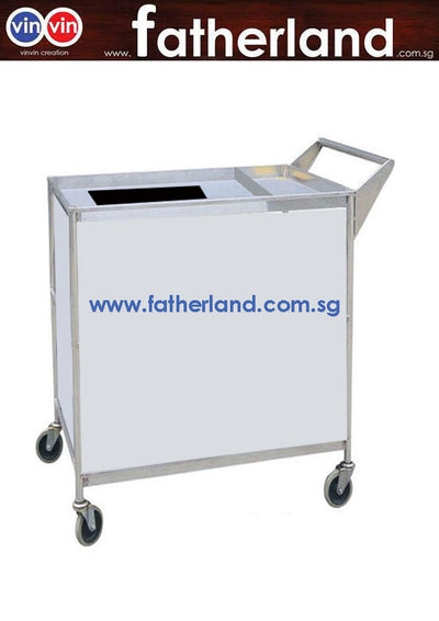 CUSTOM MADE STAINLESS STEEL TROLLEY WITH PARTITION AND HANDLE
