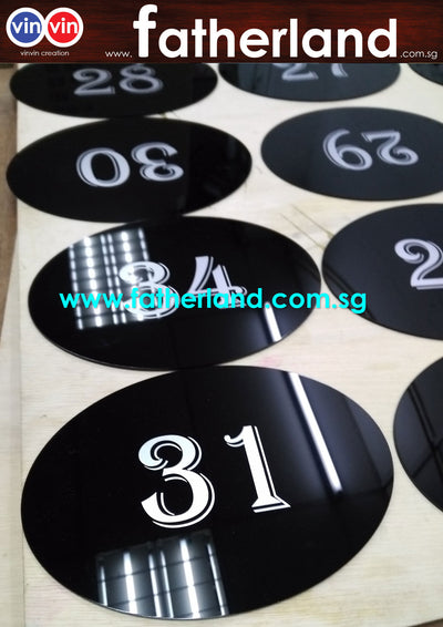 OVAL ACRYLIC SIGNAGE WITH SILKSCREEN NUMBER