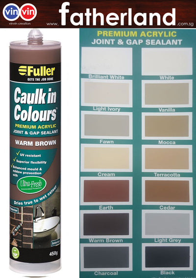 FULLER CAULK IN COLOURS ACRYLIC SEALANT 450G ( WARM BROWN )