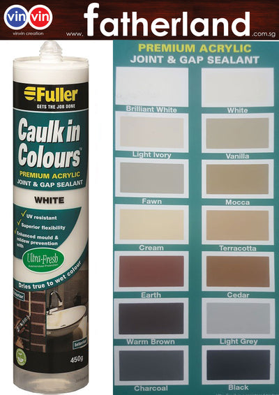 FULLER CAULK IN COLOURS ACRYLIC SEALANT 450G ( WHITE )