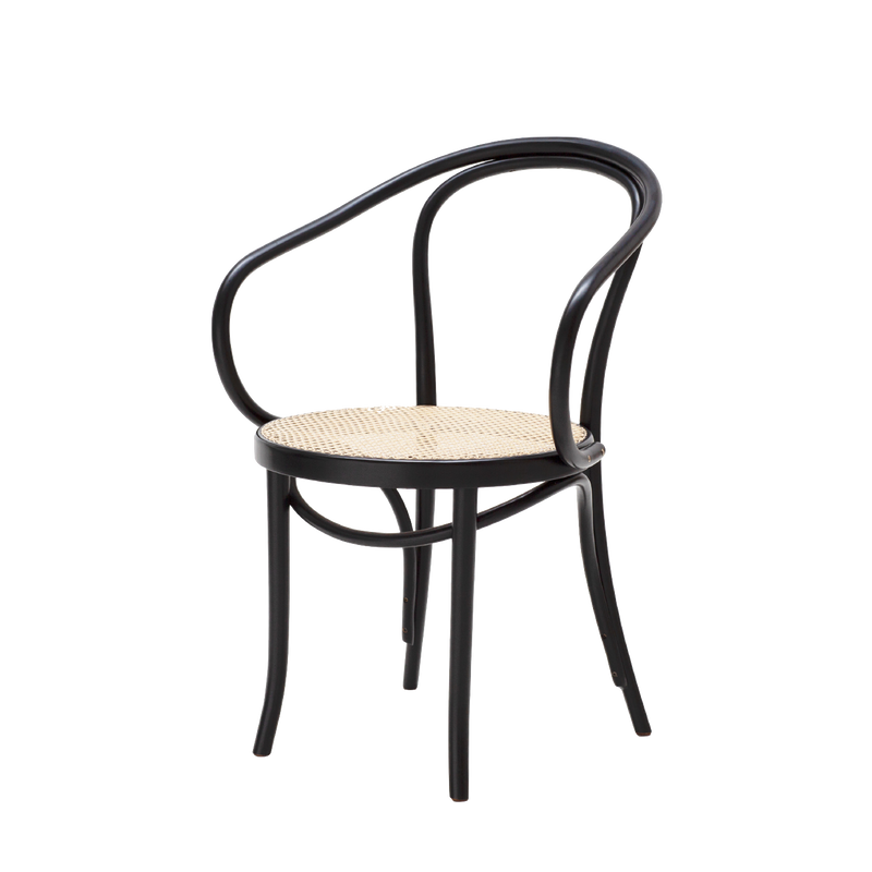 Le Corbusier Dining Chair Black with Cane Seat