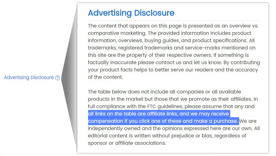 Advertising Disclosure