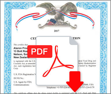 Certificate of Registration FDA