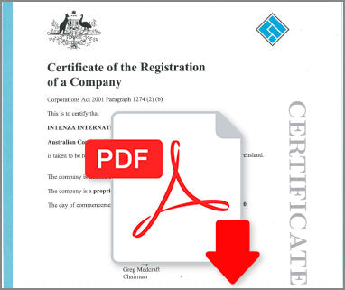 Certificate of Registration Australia