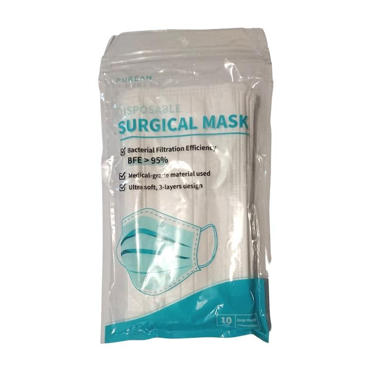 Purean Disposable 3-Layer Surgical Mask X 10
