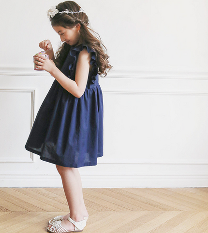 Navy ruffle dress