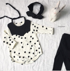 Polka dot bodysuit bib set