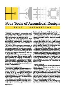 Four Tools Of Acoustical Design - Part 1: Absorption