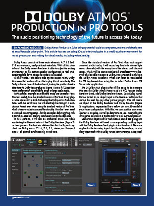 Dolby Atmos Production In ProTools