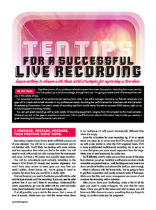 Ten Tips For A Successful Live Recording
