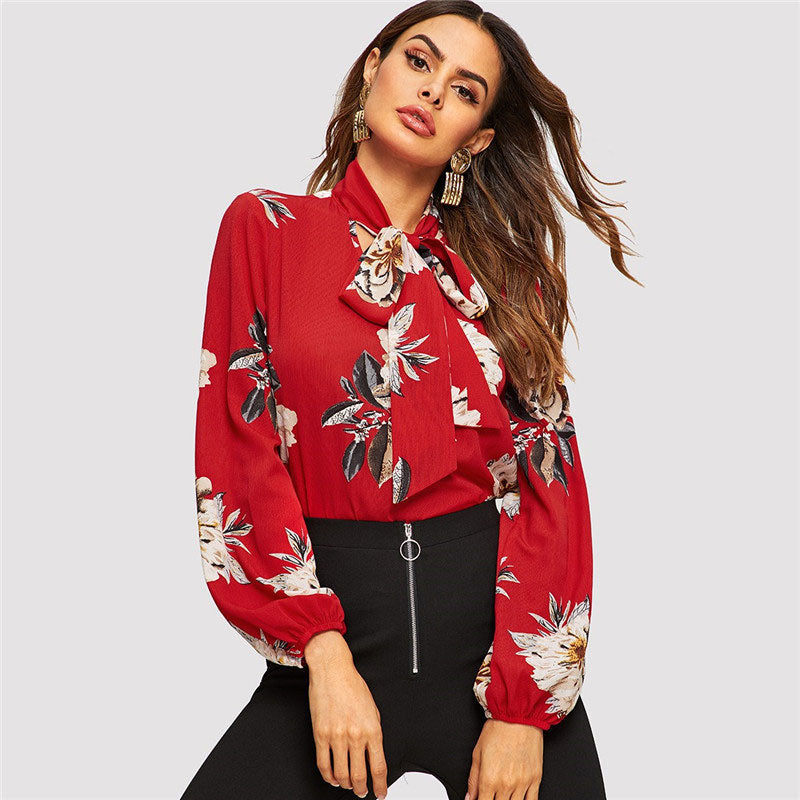 7ed6f0417fcdb Red Tie Neck Flower Print Stand Collar Long Sleeve Blouse – Chicdejour