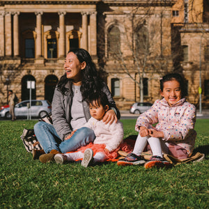 Mother with two daughters in Victoria Square