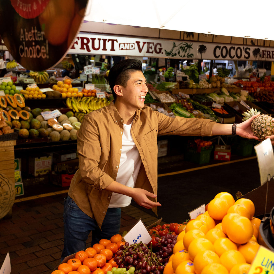 Buying fruit at Adelaide Central Market